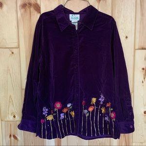 Quacker Factory Purple Velvet Button Down Shirt L